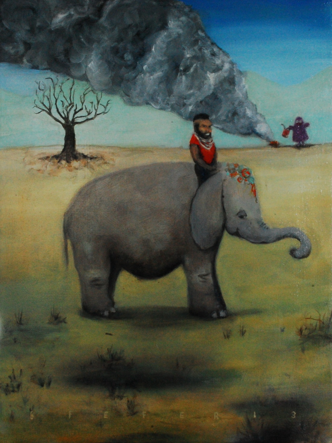 "Ganesh Did the Driving, Grimace Got Rid of the Evidence, Mr.T was the Brains 18""x24"" oil on canvas 2013 (C.Burrows collection)"