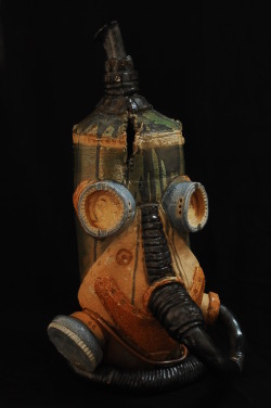 "Steam Punk Helmet 23"" high ceramic 2013"