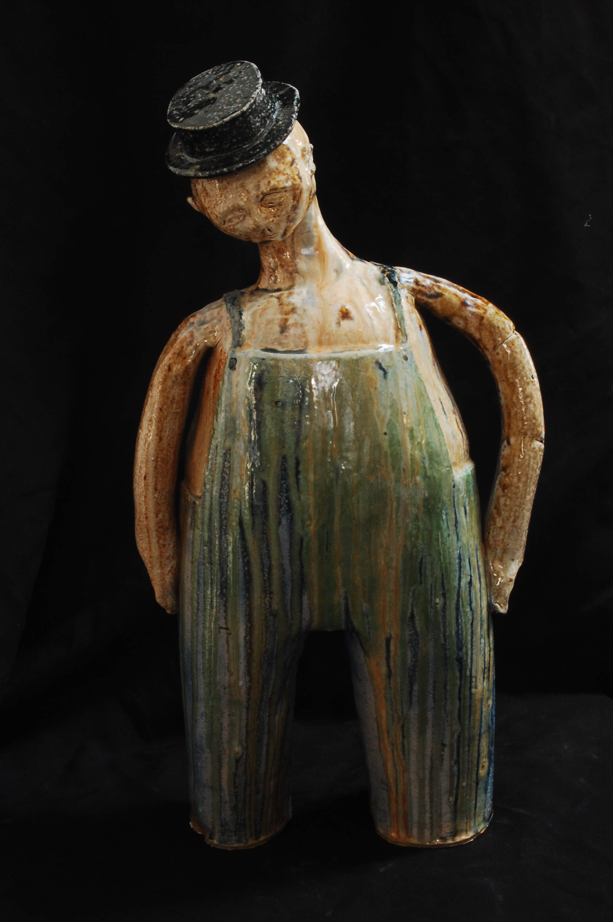 "Overalls and a Pork Pie Hat 23"" high ceramic 2013"